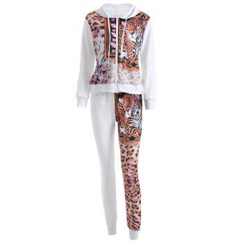 Leopard Drawstring Hoodie and Pants Set - WHITE WHITE