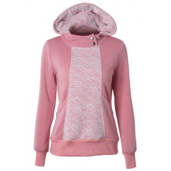 Lace Detail Pullover Pink Hoodie