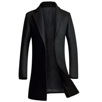 Buy Pocket Design Lapel Woolen Blend Coat BLACK