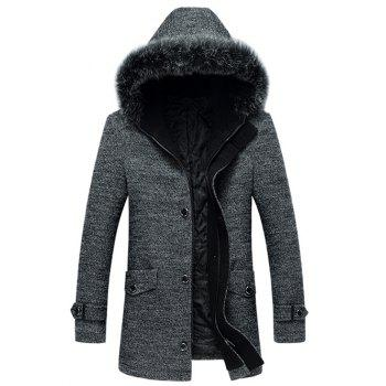 Wool Blend Furry Hood Hooded Coat