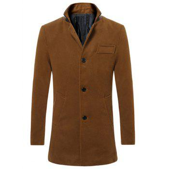 Back Vent Stand Collar Button Up Woolen Coat