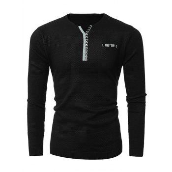 Button Embellished Notch Neck Texture Sweater