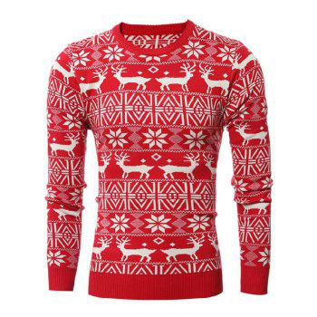Crew Neck Deer Pattern Christmas Sweater