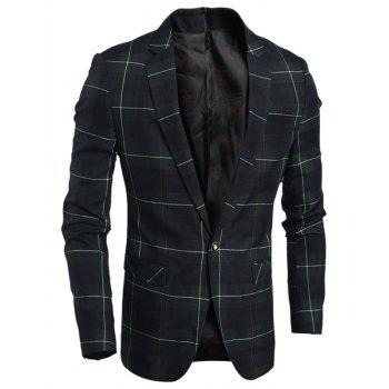 Notch Lapel Single Breasted Plaid Blazer