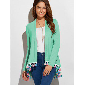 Fringes Collarless Cardigan