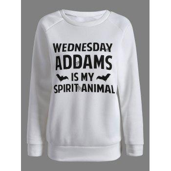 Wednesday  Addams Letter Sweatshirt - WHITE S