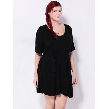 High Waist Tied Belt Swing Dress - BLACK BLACK