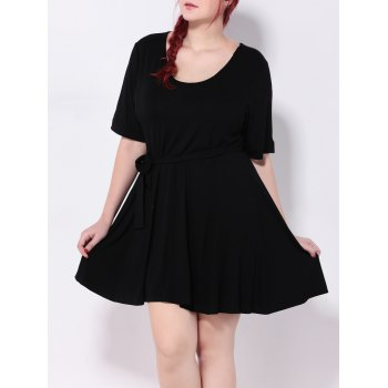 High Waist Tied Belt Swing Dress - BLACK 3XL