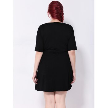 High Waist Tied Belt Swing Dress - 2XL 2XL