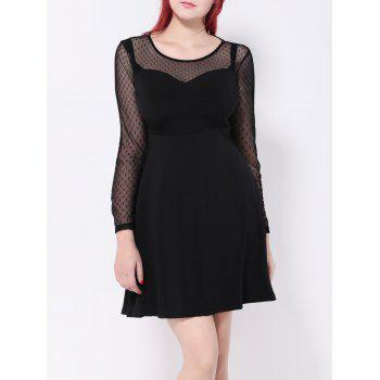 Polka Dot Mesh Spliced Swing Dress