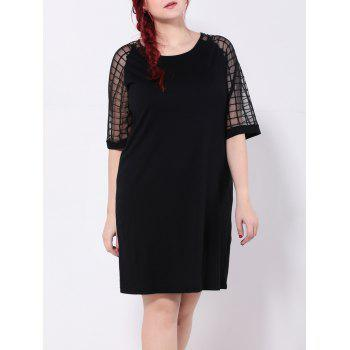 Grid Mesh Spliced Shift Dress