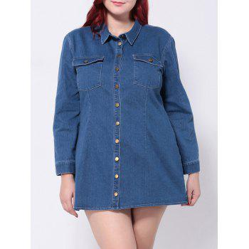 Plus Size Denim Long Sleeve Button Down Shirt Dress
