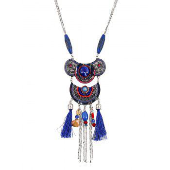 Artificial Gem Tassel Chains Beads Necklace