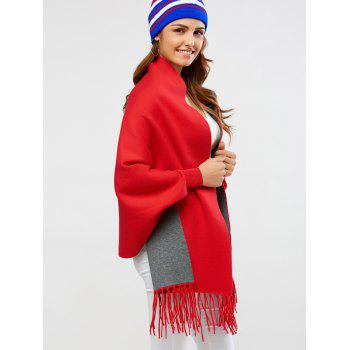 Knitted Fringe Wool Blend Cape - RED ONE SIZE