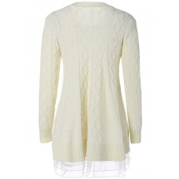 Cable Knit Pullover Sweater - OFF WHITE 2XL
