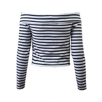 Long Sleeve Stripe Off the Shoulder Crop Top - WHITE/BLACK L