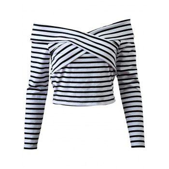 Long Sleeve Stripe Off the Shoulder Crop Top