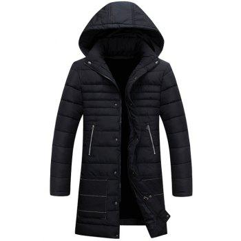 Hooded Zippers Embellished Padded Jacket