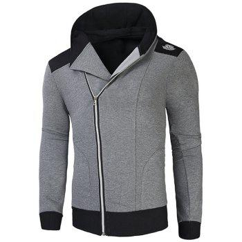 Rib Splicing Hooded Oblique Zip-Up Hoodie
