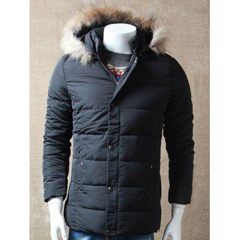 Detachable Faux Fur Hood Zipper Up Padded Jacket