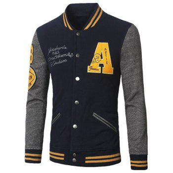 Stand Collar A Pattern Color Block Baseball Jacket
