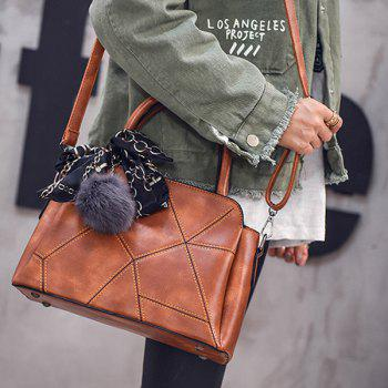 Stitching PU Leather Geometric Pattern Tote Bag