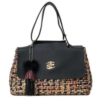PU Leather Spliced Tassel Tweed Shoulder Bag