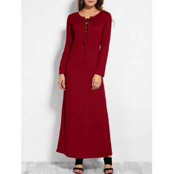 Plunging Neck Long Sleeve Lace Up Maxi Dress