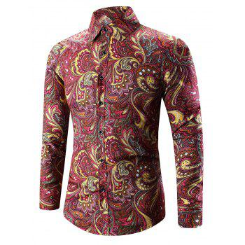 3D Paisley Printed Turn-Down Collar Shirt - DEEP RED DEEP RED