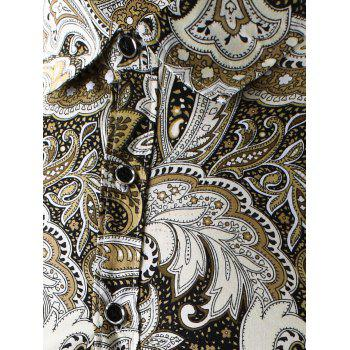 3D Paisley Printed Turn-Down Collar Shirt - YELLOW YELLOW