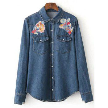Patched Cowboy Denim Long Sleeve Shirt With Pockets
