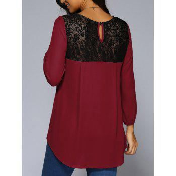Lace Patchwork High Low Hem Chiffon Blouse - WINE RED WINE RED