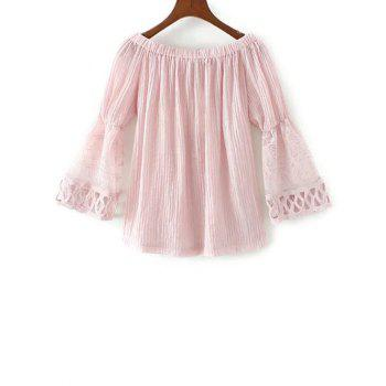 Off The Shoulder Lace Spliced Buttoned Blouse