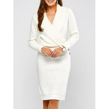 Long Sleeve Shawl Collar Sweater Fitted Dress - WHITE WHITE