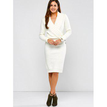 Long Sleeve Shawl Collar Sweater Fitted Dress - WHITE L
