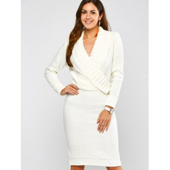 Long Sleeve Shawl Collar Sweater Dress - L L