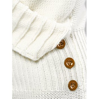 Long Sleeve Shawl Collar Sweater Fitted Dress - WHITE S
