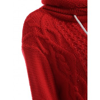 Long Sleeve Polar Neck Jumper Dress - RED L