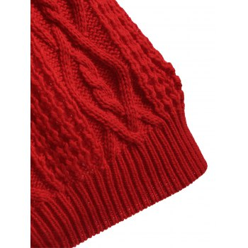 Manches Longues Robe Pull Câble Col Roulé - Rouge S