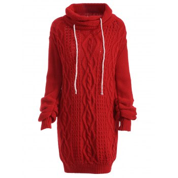 Buy Turtleneck Long Sleeve Cable Knit Sweater Dress RED