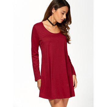 Long Sleeve Short Babydoll Skater Dress - WINE RED S