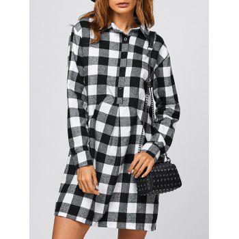 Casual Polo Tartan Shirt Dress