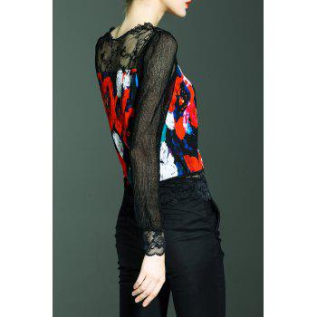 Long Sleeve Lace Panel Print Top - BLACK M
