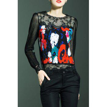 Long Sleeve Lace Panel Print Top