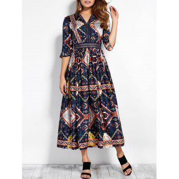 V Neck Retro Print Hollow Out Maxi Dress