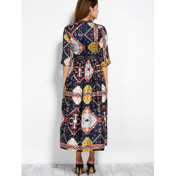 V Neck Retro Print Hollow Out Maxi Dress - COLORMIX S