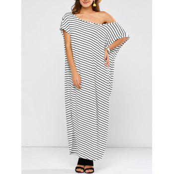 One Shoulder Plus Size Stripe Slit Maxi Dress