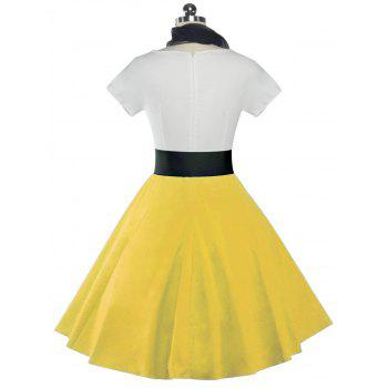 Retro Poodle Print High Waist Skater Dress - YELLOW M