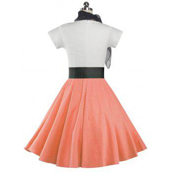 Retro Poodle Print High Waist Skater Dress - ORANGEPINK L