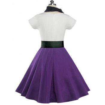 Retro Poodle Print High Waist Skater Dress - PURPLE 2XL